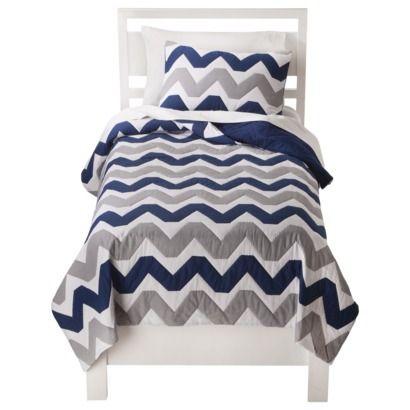 Circo® Chevron Quilt Set - Navy Blue/Gray