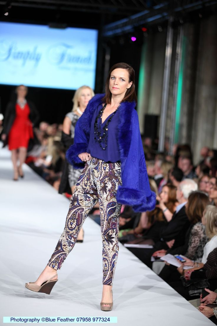 Elegant paisley print trousers teamed with a faux fur trimmed cape #SAF14