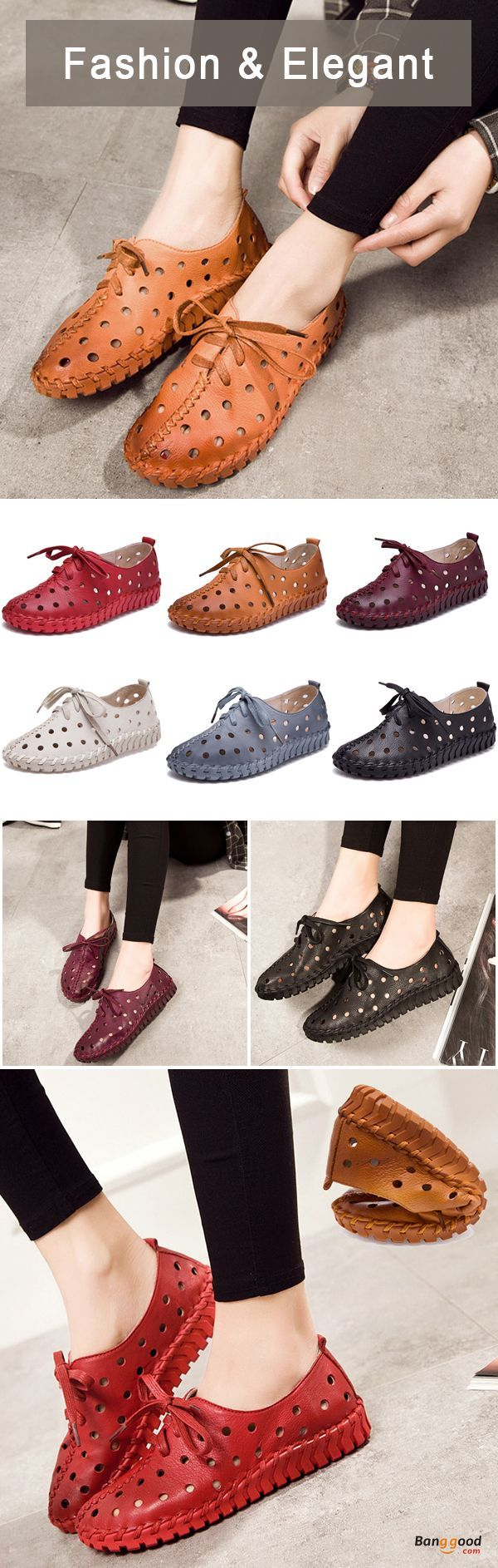 US$56.45 + Free shipping. Size: 5~9. Color: Black, Red, Wine Red, White, Gray, Brown. Fall in love with fashion and elegant style! SOCOFY Leather Hollow Out Breathable Stitching Lace Up Comfortable Shoes.