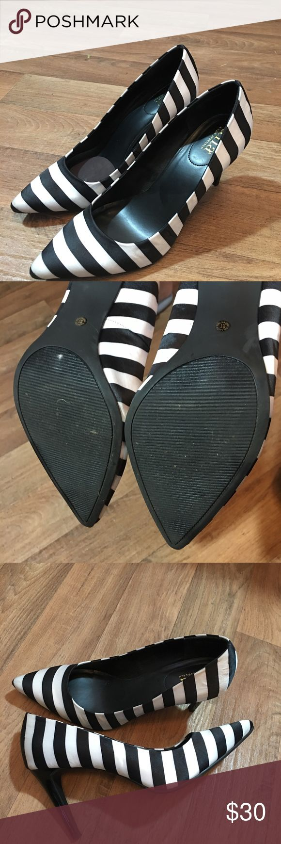 """Striped Pumps Beautiful 3 1/2 to 4"""" inch heels, black and white stripes, size 10, fit true to size, worn twice. Excellent Condition Ana Shoes Heels"""