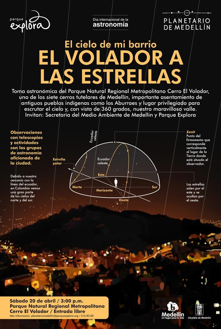 【  EL VOLADOR A LAS ESTRELLAS  】  Día internacional de la Astronomía / Planetario de Medellín. Ilustración: María Luisa Isaza.