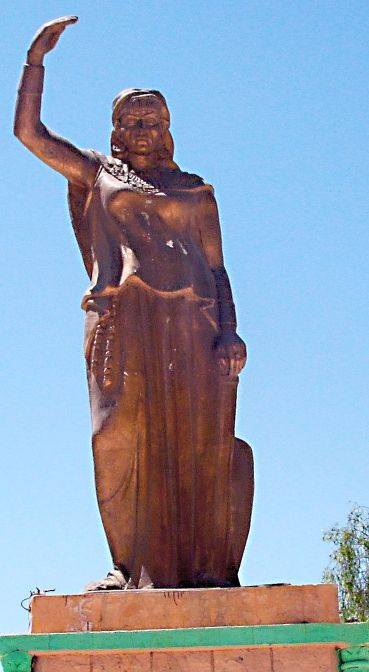 Dihya al-Kahina was a Berber queen, religious and military leader who fought against Islamic expansion in Northwest Africa during the 7th century. Her name is recorded with a number of variations, including, Daya and Dahlia. 'al-Kahina', meaning 'sorceress', was a title given to her by her Muslim opponents because the defeats she inflicted on them were deemed the result of magic.