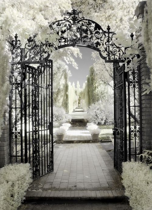 Architecture hand colored photography filoli gate by dianne poinski