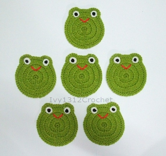 Set of 6 Smiley Frog Crochet Coasters - Finished Handmade Beverage Kitchen Home Decor Housewares Coasters or Potholders. $18.50, via Etsy.