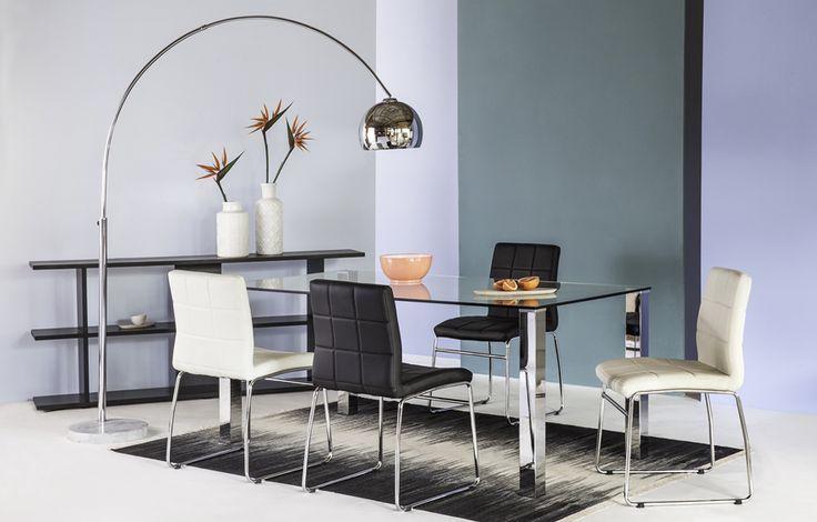 """Mesas Kante, cubierta de cristal templado y patas de acero cromado 1.80 x 0.90 mts ideal para 6 personas, silla hot en color blanco o negro patas de acero cromado, tapiz """"pu""""."""