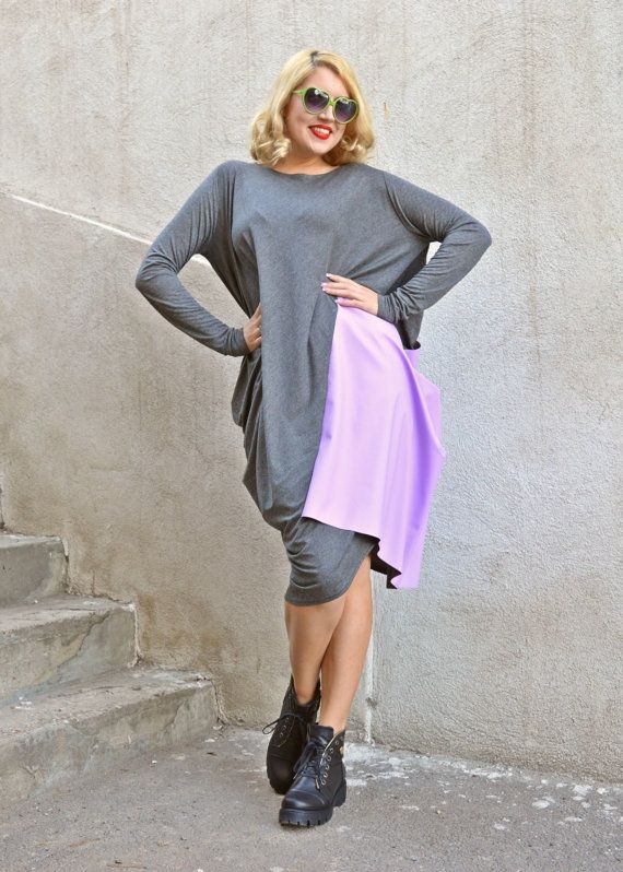 ON SALE Grey Maxi Dress / Loose Dress with Lilac Waxed by Teyxo