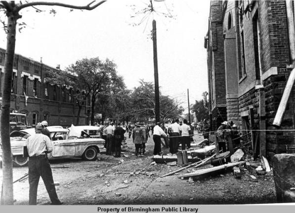 Photograph of Sixteenth Street side of church after bombing, Birmingham Alabama 1963.