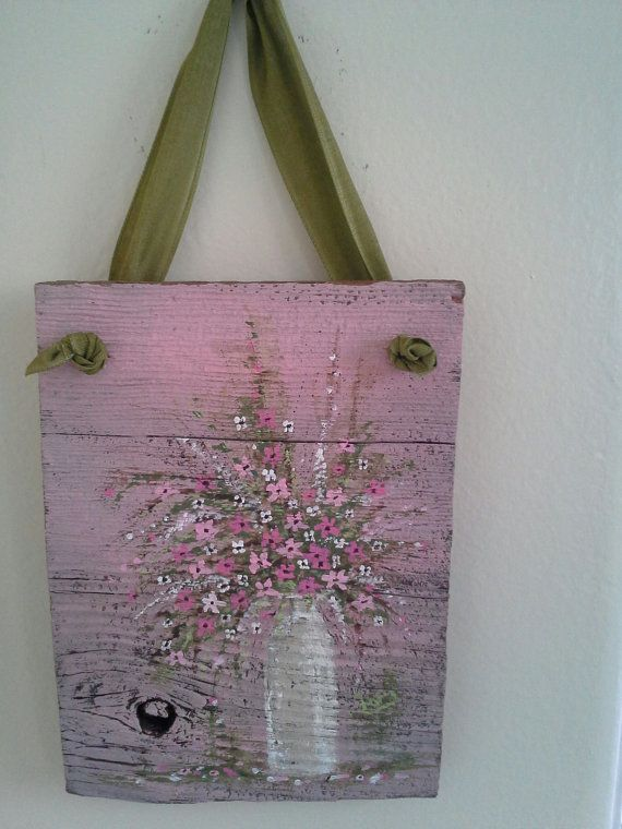 Original floral painting Pink & White on wood by ShePaintedEverything.etsy.com,$18.95