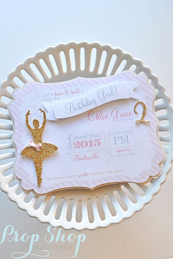 """Girl's Shabby Chic Pink & Gold Ballerina Invitation  """"She leave a little sparkle wherever she goes""""  Prop Shop Boutique  www.etsy.com/propshopboutique"""