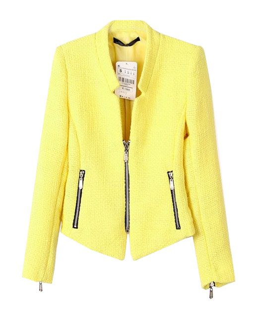 OL Style Zip Decorated Stand Collar Blazer