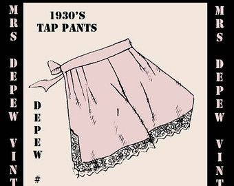 Vintage Sewing Pattern 1930's French Tap Pants in Any Size- PLUS Size Included- Depew 612 -INSTANT DOWNLOAD-
