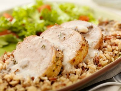 Slow Cooker Pork Loin with Creamy Sauce Recipe  - DECREASE AMT OF WATER (USE 1/4 CUP)