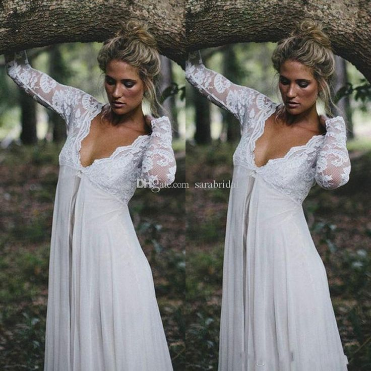Wholesale 2015 Sheer Long Sleeves Beach Maternity Wedding Dresses Plus Size Custom Made A Line Sexy V Neck Chiffon Lace Pregnant Bridal Gowns ZC, Free shipping, $109.95/Piece | DHgate Mobile