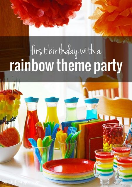 Rainbow First Birthday Party- get clear jugs to fill with colored drinks!