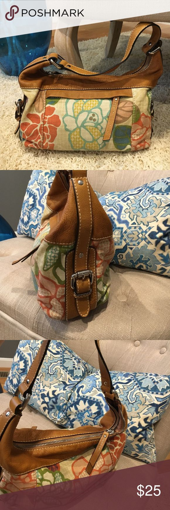 Fossil floral bag A little dirty  but it can be washed because is cloth with leather trim Fossil Bags Hobos