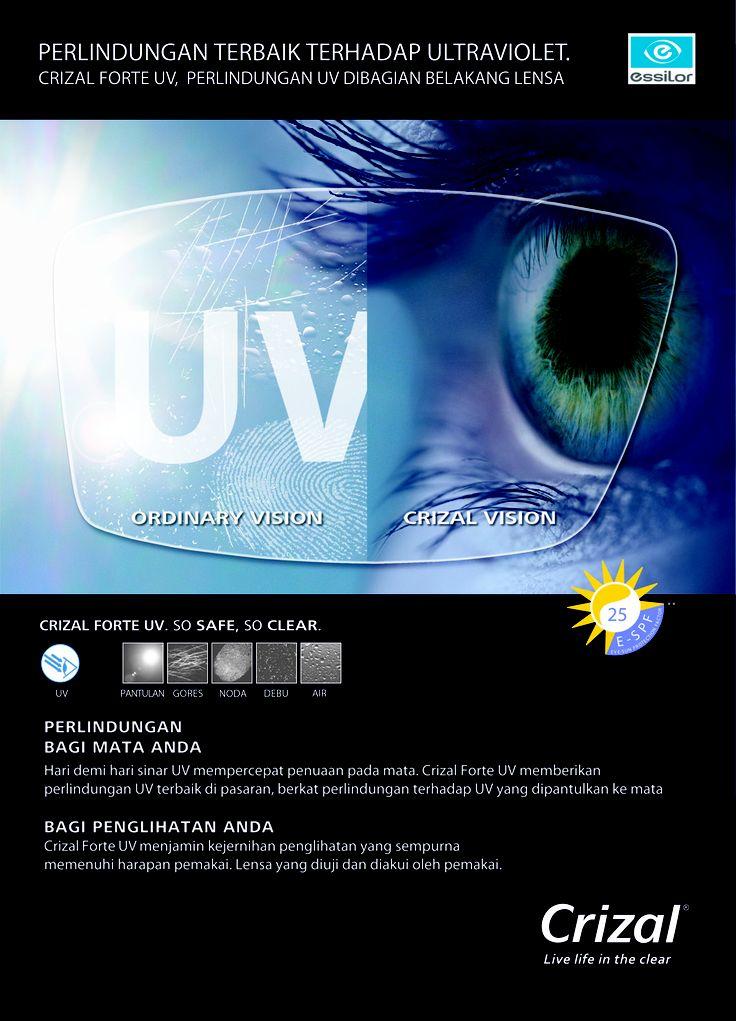 Perlindungan terbaik terhadap sinar ultraviolet bagian depan dan belakang lensa. #Crizal - #eyewear - #eyegalsses - #essilor - #Crizal - #UVLens