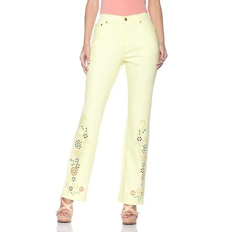 DG2 Tropical Motif Embellished Boot-Cut Jeans  HAVE THEM