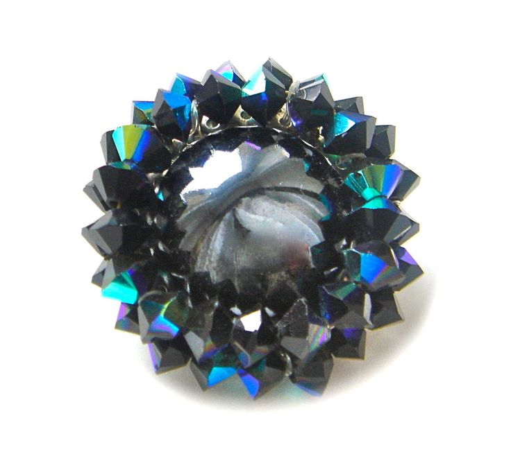 Vintage Czech Glass Brooch Pin Silver Tone BLUE BLACK Cabochon Beads Round Old