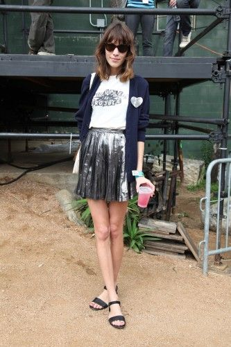 Alexa Chung is rocking this perfect pleated skirt in shiny silver.