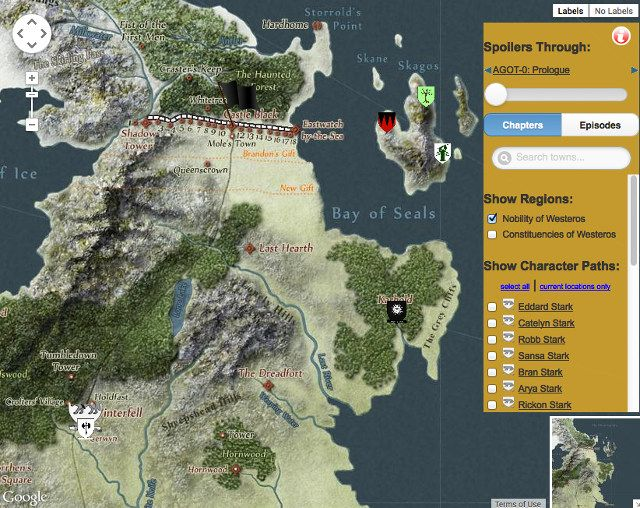 Links to a massive, interactive Game of Thrones map. This is really fantastic.. nearly every location mentioned at any point in books/episodes is located, and you can click on nearly all of them to get to the corresponding page on the GoT wiki. I could spend hours with this!