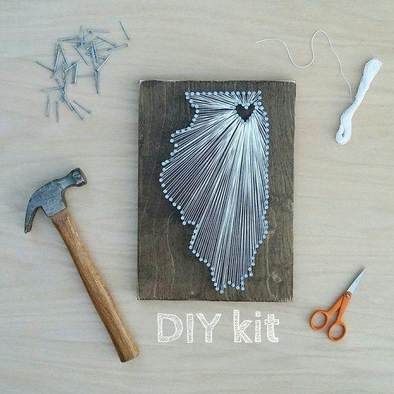 DIY Illinois String Art Kit, State string Art Kit, Illinois Nail Art, Rustiek Decor, Illinois Wall Ar