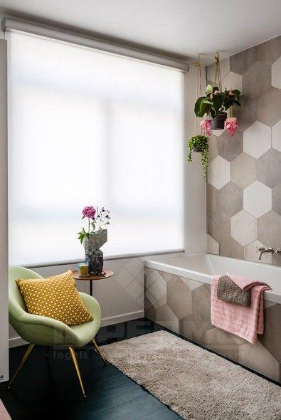 badkamer, tegel, zeshoek, patroon, beigetinten, klassiek, wandtegel, badkamervloer, badkamertegel