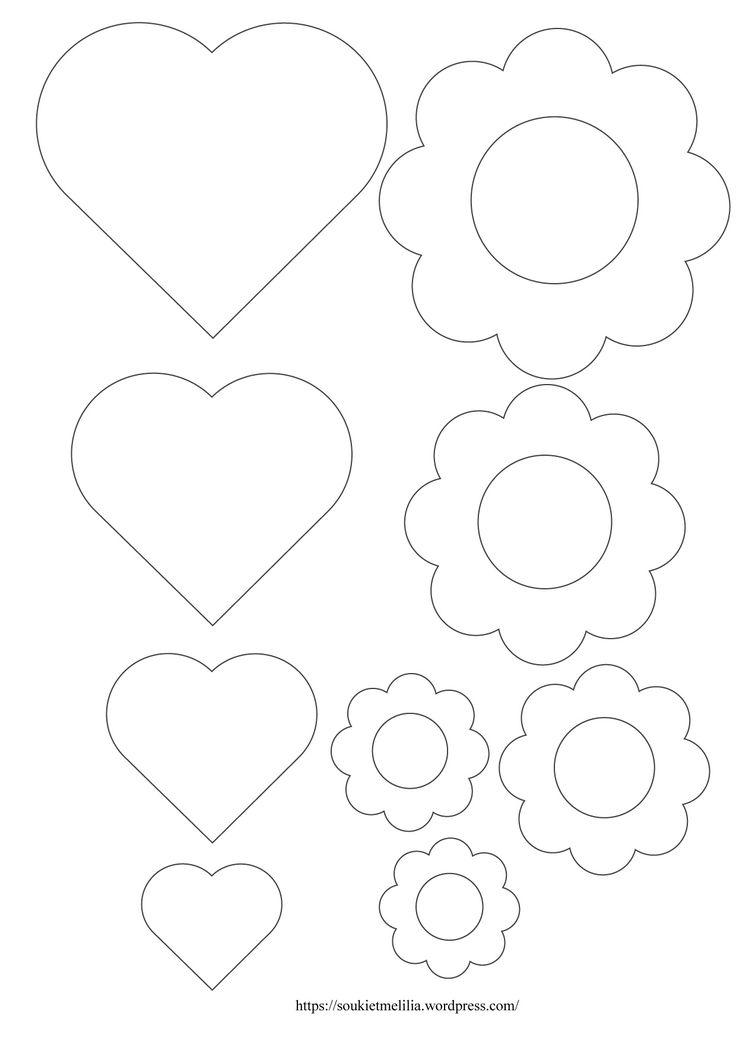 Gabarit cœurs et fleurs à télécharger au format A4 et PDF Gabarits coeurs et fleurs