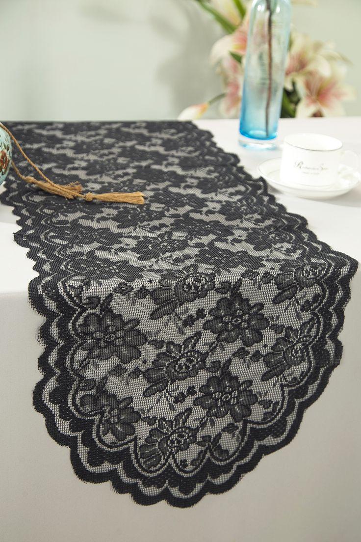 "13.5""x108"" Lace Table Runner - Black 90639(1pc/pk)"