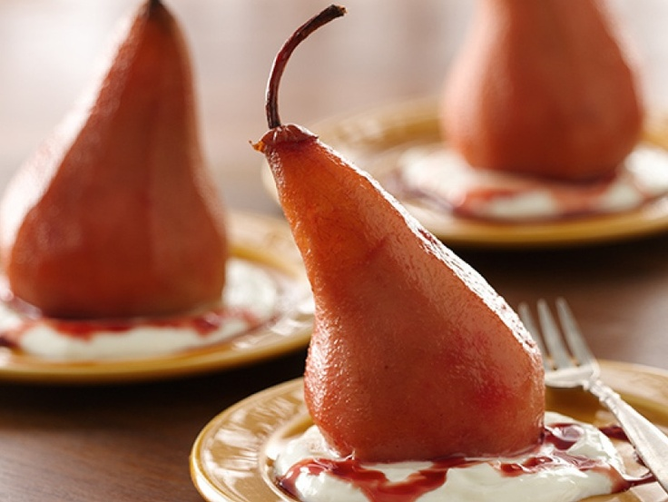 Pomegranate Poached Pears with Liberté Yogurt Sauce *Click for recipe*