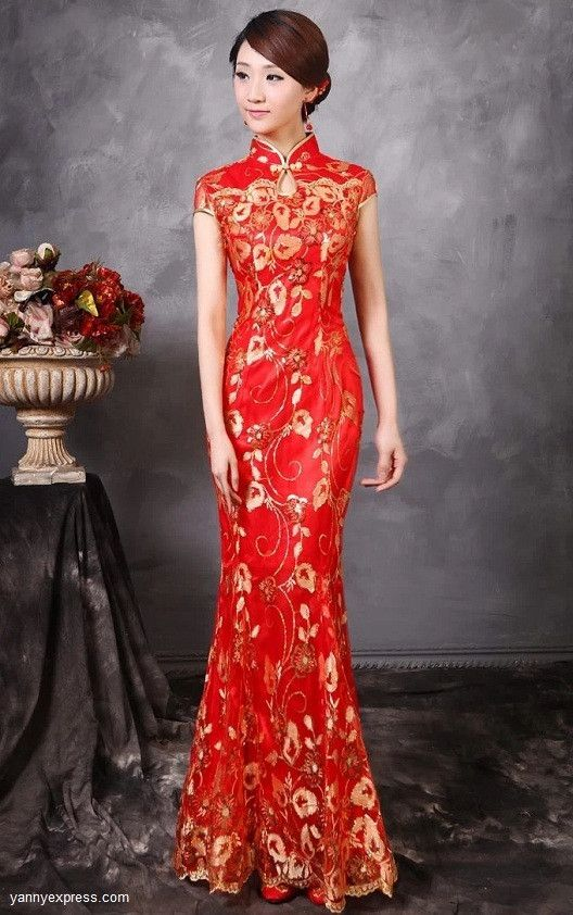 Chinese Wedding Fishtail Gown Cheongsam Bridal Evening Reception Dress