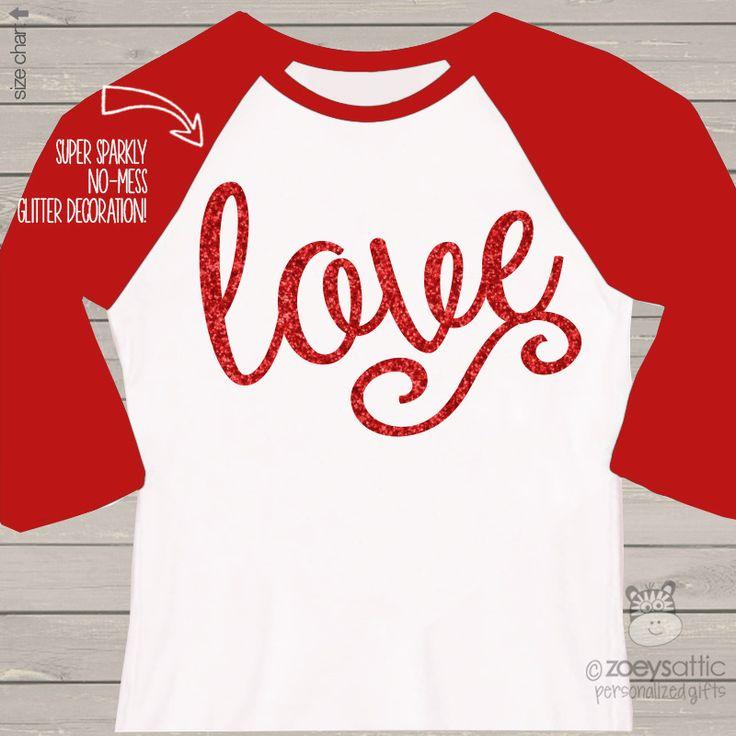 Adult Valentine shirt, sparkly love glitter raglan shirt