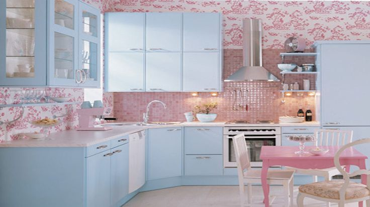 Pink Walls And Backsplash In This Pastel Kitchen Pink