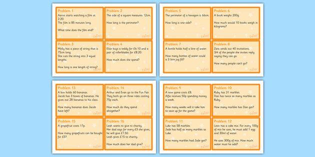Maths Problem Cards Year 4