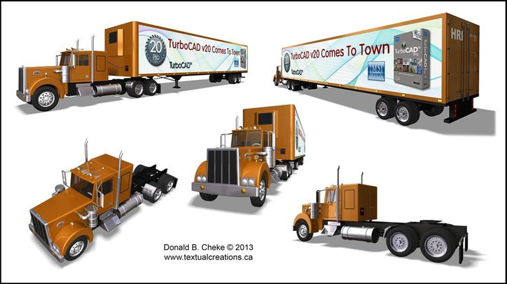 TurboCAD Tractor Trailer Collage - CAD model/rendering designed by Don Cheke in TurboCAD Pro Platinum. Announcing the arrival of TurboCAD v20 | #CAD #Software