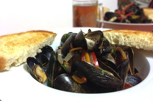 Beer mussels - swimming in lager and butter. Topped with sweet bell ...