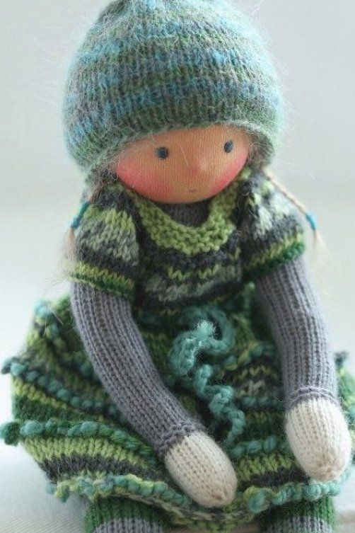 Waldorf knitted doll Fabia 13 by Peperuda dolls by ...