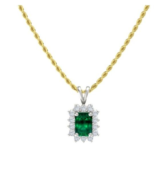 Dream emerald halo necklace by Gemvara