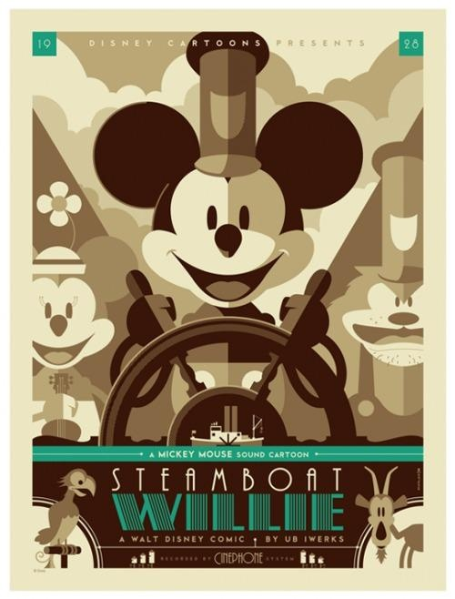 In the 1920's Steamboat Willie was one of Walt Disney's first animation films. This was a big innovation during this time period because animations were rare. Disney became later became famous for being the voice of Mickey Mouse! Many became entertained by the cartoon drawings, and they soon turned into a huge hit in the 1920's. Mickey is now the icon for all things Disney related.