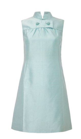 1960s Peck and Peck Pale Blue Silk Mini Dress