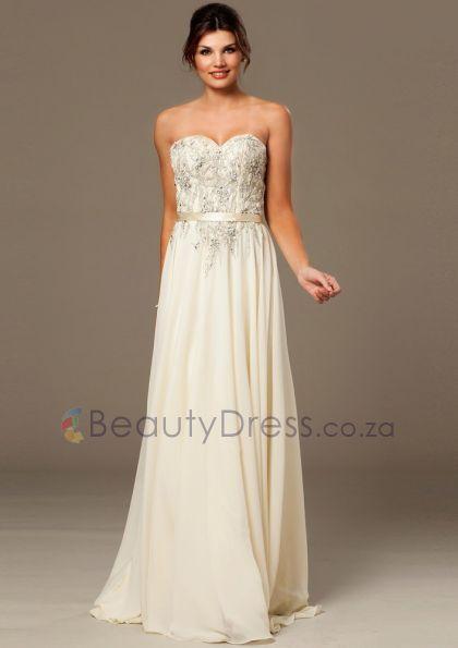 Zipper Beading Strapless Floor-length Ivory Sleeveless A-line Dresses - 1506119 - Prom Dresses