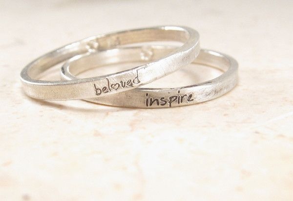 A super thin personalized silver posey ring that's engraved with just about anything you like. Each ring is solid sterling silver.