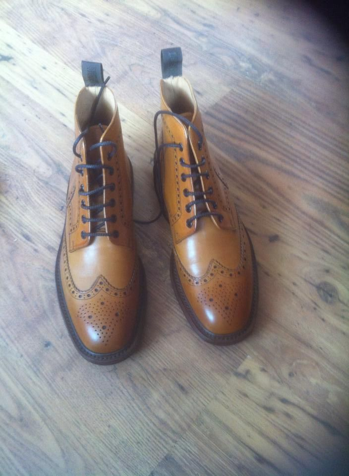 Another satisfied customer, Loake Bedale Brogue Boots in Tan Burnished Calf.    http://www.robinsonsshoes.com/loake-bedale.html  Photograph courtesy of Paddy Arkins.