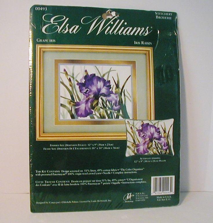 Elsa Williams Grape Iris Crewel Kit New Sealed Pillow or Picture Michelle Palmer #JCA