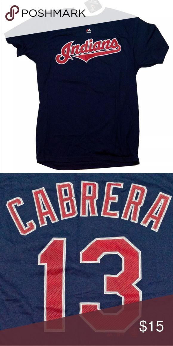 Majestic MLB Indians Asdrubal Cabrera 13 T-Shirt Super soft cotton combined with an athletic, loose fit will make this T-Shirt a new favorite in your wardrobe rotation.   FEATURES:  FABRIC: 100% cotton FIT: Athletic CARE: Machine wash IMPORTED Size: Large  Measurements:  Pit to Pit:21in  Length:28.5in  Sleeves:8.5in Majestic Shirts Tees - Short Sleeve