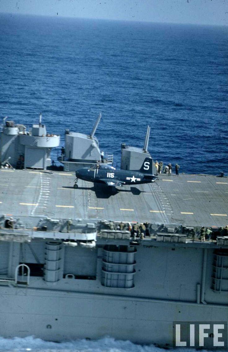 Curtiss SB2C Helldiver & VF-5A/51 FJ-1 Carrier Test CV-21 USS Boxer, March 1948