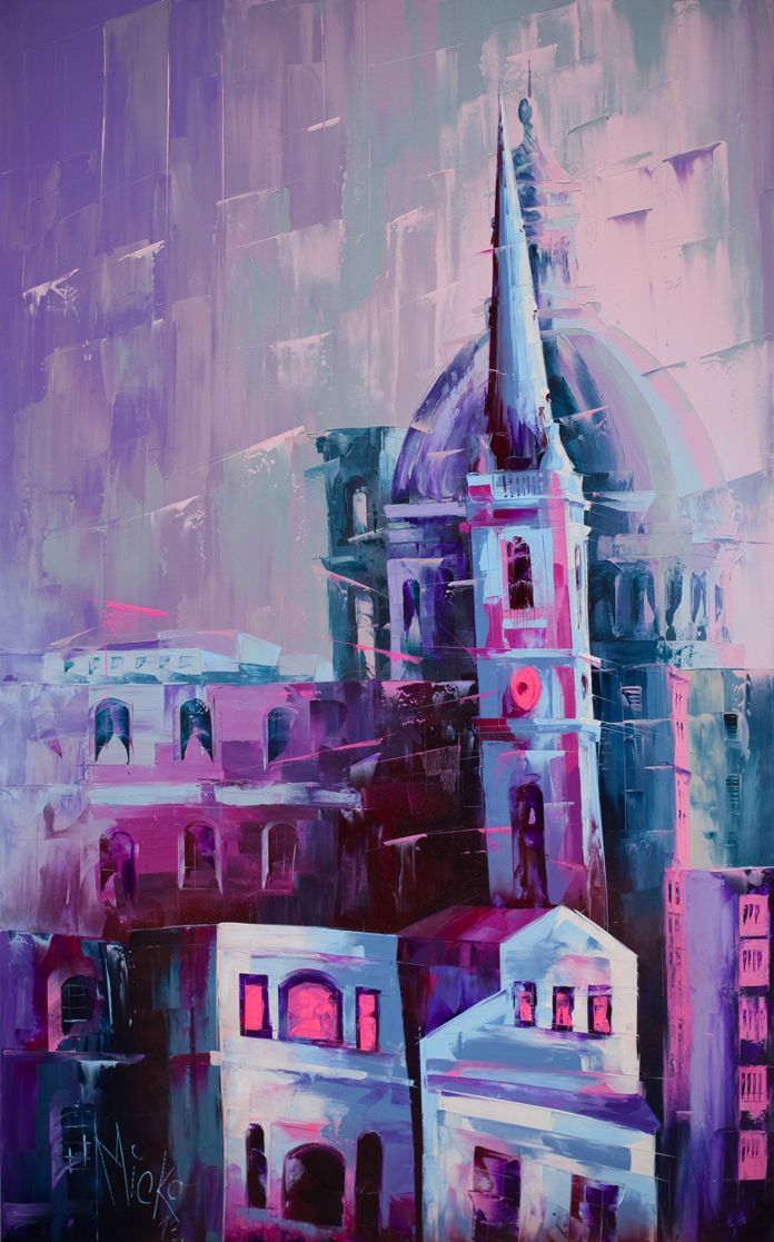 RESERVED Violetta (Valletta Church) (2013) Micko 90cm by 145cm  Acrylic impasto gel on Canvas  http://www.christinexart.com/artist/micko