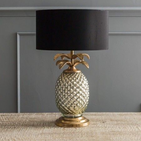 "Silver & Gold Pineapple Lamp - Table Lamps - Lighting - Lighting & Mirrors H43cm W17cm, 14"" black cotton lamp shade"