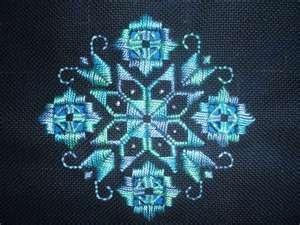 Viking ships pattern in Hardinger embroidery