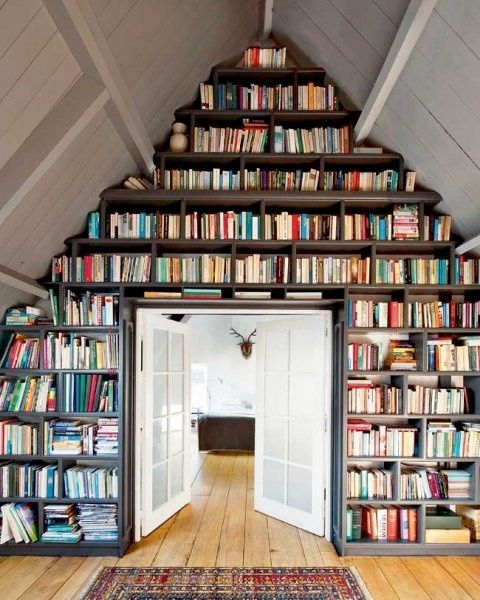 Bookcase wall, attic, doorwayBookshelves, Home Libraries, Dreams, Attic Spaces, Book Wall, Bookcas, Book Shelves, House, Attic Library