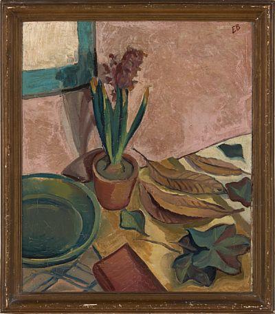 ERIK BRANDT KRISTIANIA 1897 - OSLO 1947  Svibel i blomst, Paris 1929 Olje på lerret, 54x45 cm Initilasignert oppe til høyre: EB Signert, datert og stedsbestemt bak på lerret:  Erik Brandt, Paris 29